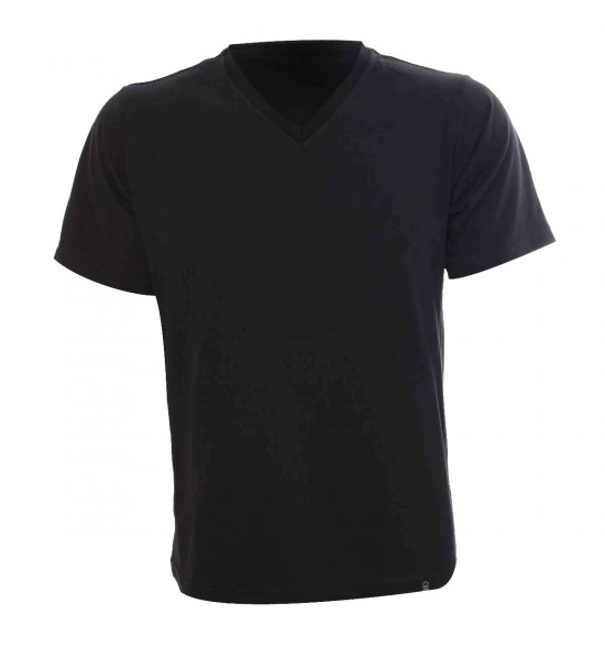 f160775ba Camiseta Alma De Praia Gola V Preta PROMOÇAO