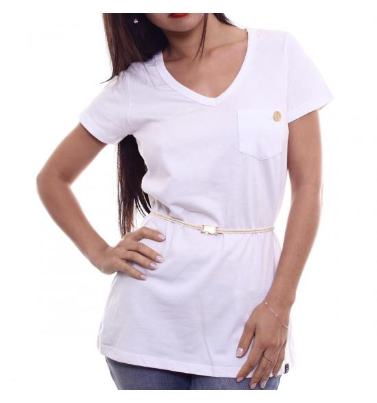 Sx Camiseta Alma De Praia Maxi V Branca C/ Cinto Lurex
