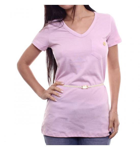 Sx Camiseta Alma De Praia Maxi V Rose C/ Cinto Lurex