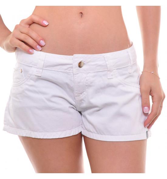 Sx Shorts Curto Alma De Praia Sarja Branco