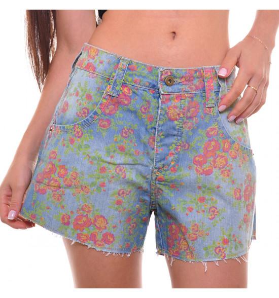Sx Shorts Alma De Praia Jeans Floral