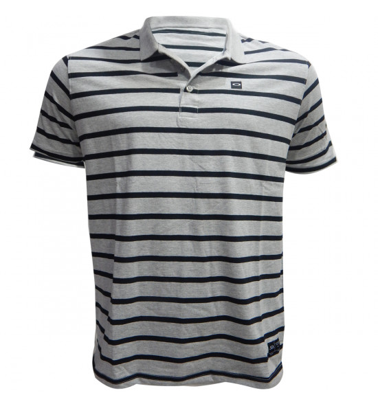 Camisa Polo Oakley Striped Patch Cinza