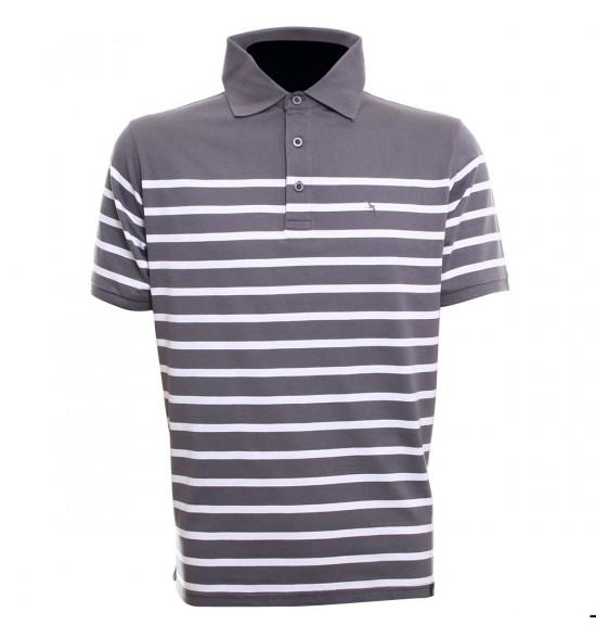 Rx Camisa Polo Alma de Praia Classic Stripes Cinza