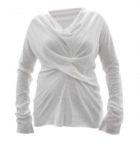 Blusa Cantão Algodão Drapeado Branco - Ultima Peça tam G