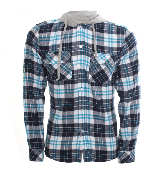 Rx Camisa Alma De Praia Xadrez Azul Flanelada Com Capuz