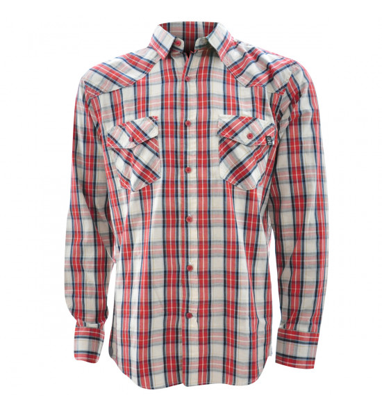 Rx Camisa Alma De Praia Xadrez Vermelha Manga Longa