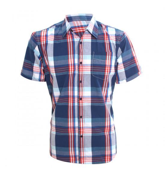 Rx Camisa Alma De Praia Summer Style Azul Com Vermelho LIQUIDAÇÃO VERÃO