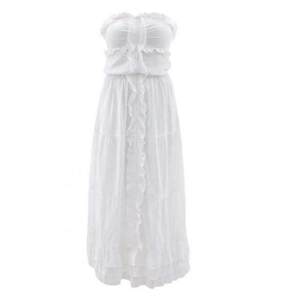 Vestido Longo Checklist TQC Charme Branco Verão