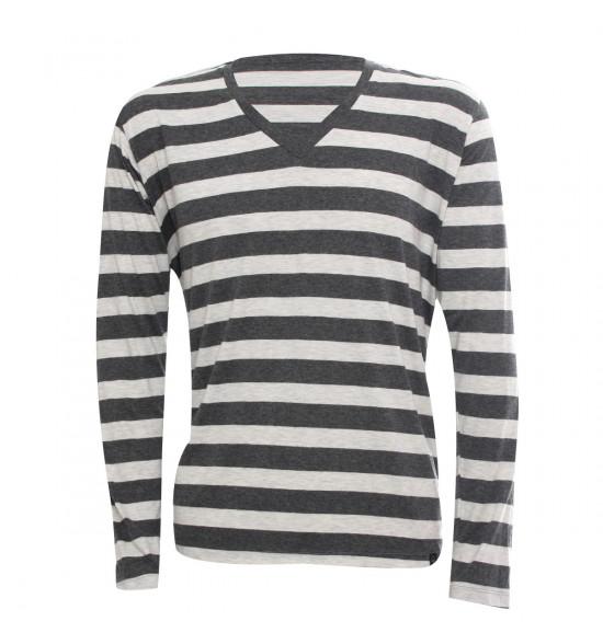 Rx Camiseta Alma De Praia Gola V Listras Branco Manga Longa PROMOÇAO