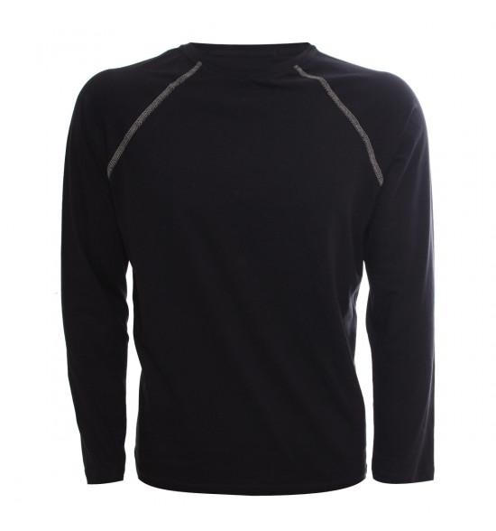 Rx Camiseta Alma De Praia Manga Longa Raglan Preta PROMOÇAO