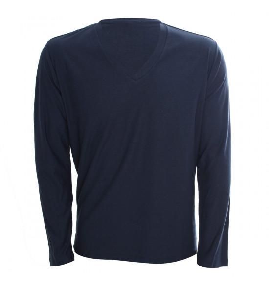 Rx Camiseta Alma De Praia Gola V Manga Longa Azul