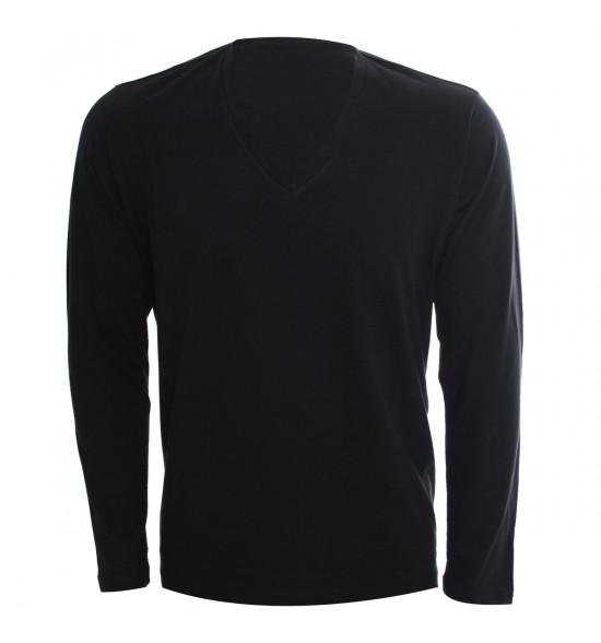 Rx Camiseta Alma De Praia Gola V Manga Longa Preta