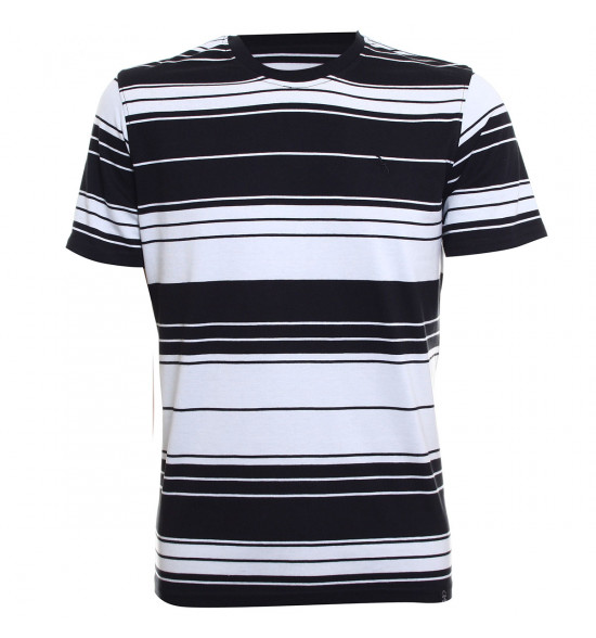 Rx Camiseta Alma de Praia Especial Listras Preta PROMOÇAO