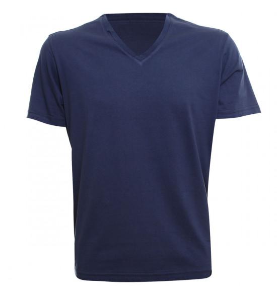Rx Camiseta Alma de Praia Gola V Azul Marinho
