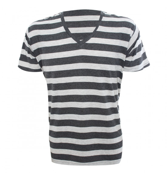 Rx Camiseta Alma De Praia Gola V Listras Branco PROMOÇAO