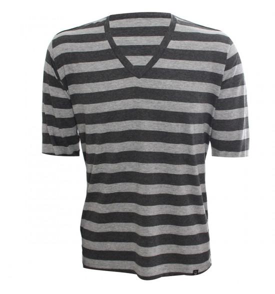 Rx Camiseta Alma De Praia Gola V Listras Mescla