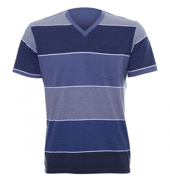 Rx Camiseta Alma de Praia Listras Azul