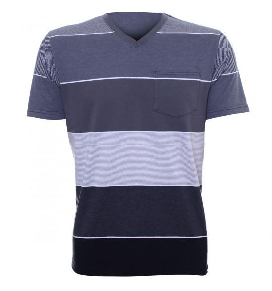 Rx Camiseta Alma de Praia Listras Cinza PROMOÇAO