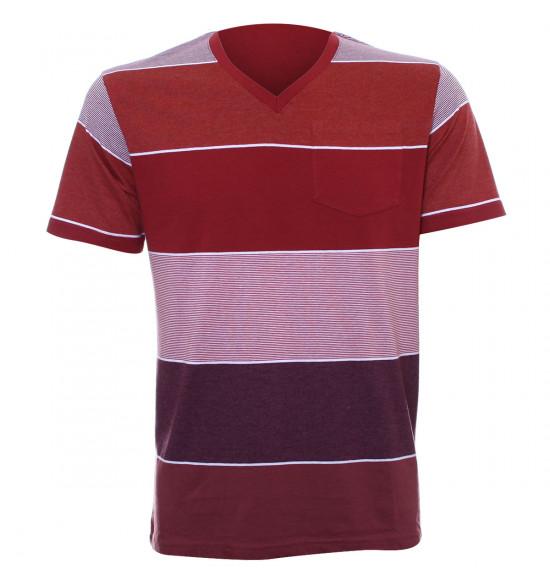 Rx Camiseta Alma de Praia Listras Vermelho