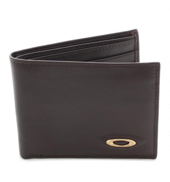 Carteira Oakley de Couro Marrom Leather Wallet