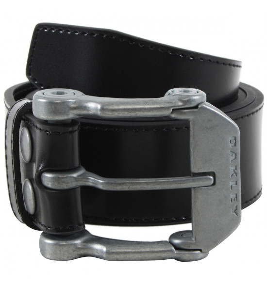 Cinto Oakley Couro Liso Preto Leather Belt