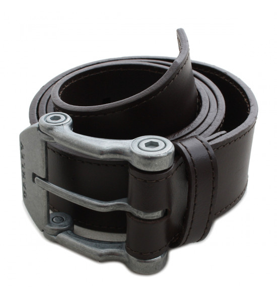 Cinto Oakley Couro Liso Marrom Leather Belt
