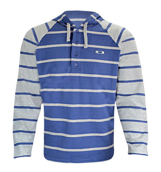 190c26c7d8b10 Moletom Oakley Knapp Hoody Listrado Azul e Cinza ref 471778BR