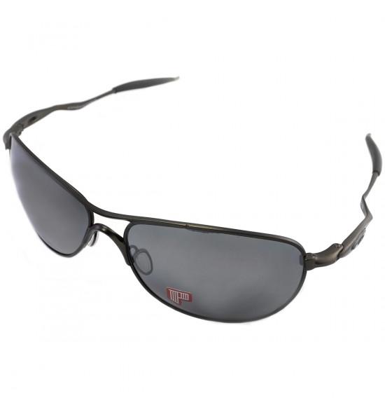 ddcda7c60d256 Óculos Oakley Crosshair Pewter Titanium Black Iridium Polarizado ...