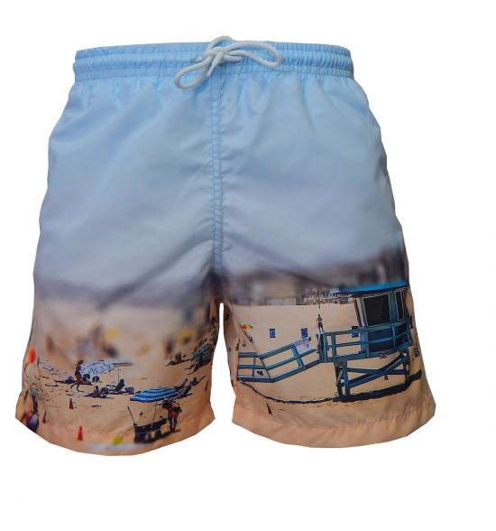 Shorts Mash com Cordão Estampa Praia