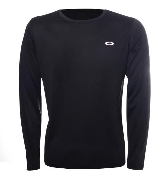 Camiseta Oakley Manga Longa Fitness Wind 2.0 Preta PROMOÇAO