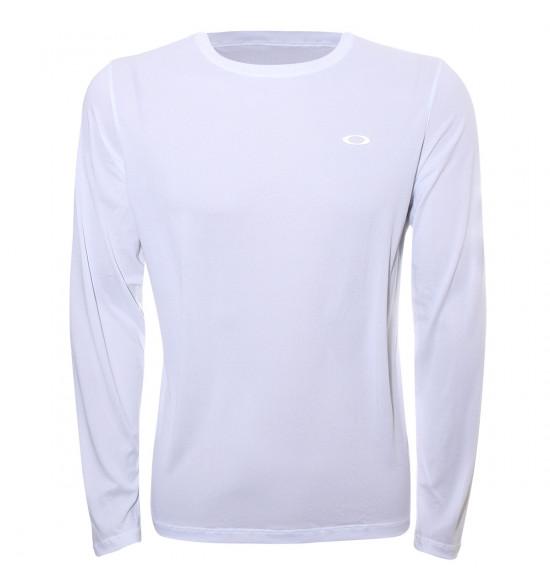 Camiseta Oakley Manga Longa Fitness Wind 2.0 Branca PROMOÇAO