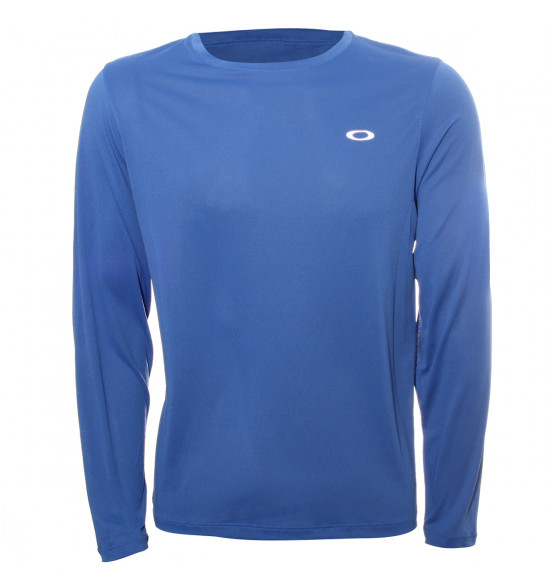 Camiseta Oakley Manga Longa Fitness Wind 2.0 Azul PROMOÇAO
