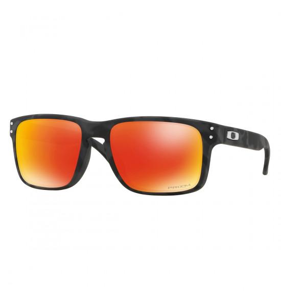 f1ec30d2521f4 Óculos Oakley Holbrook Black Camo  Lente Prizm Ruby ref  OO9102-E9
