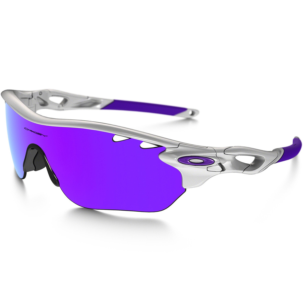 Óculos Oakley Radarlock Edge Vented Polished White Lentes Violet Iridium e  Clear VR28 45c343021d