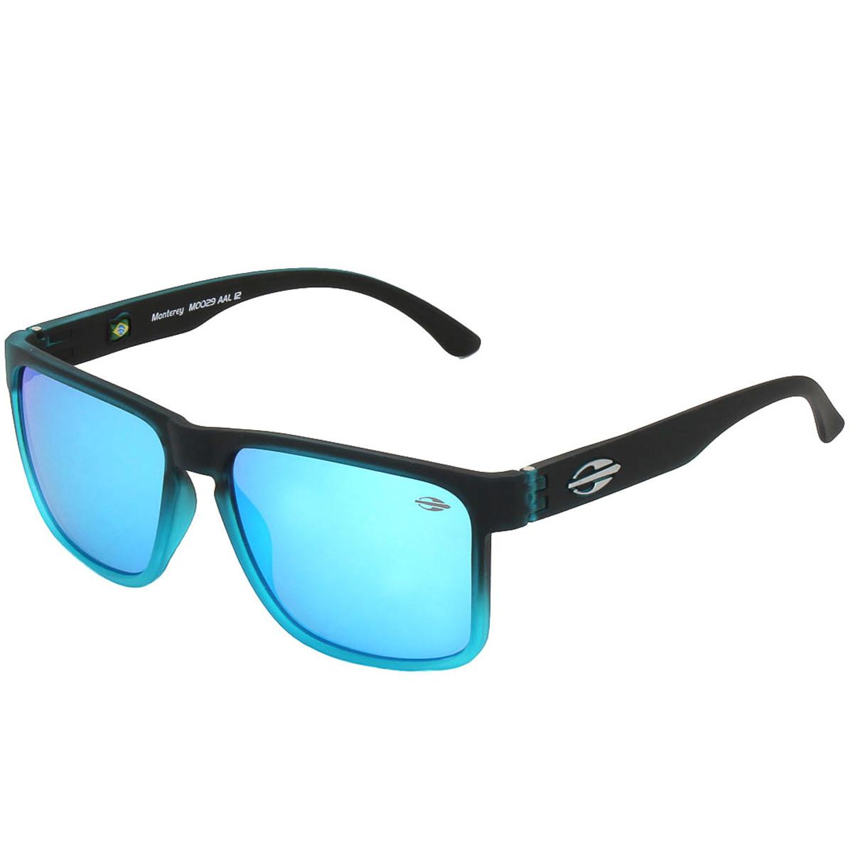 Óculos Mormaii Monterey Preto Fosco Degradê Azul Lente Azul ref ... b383f2fd9a