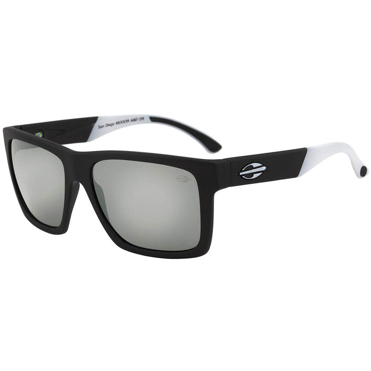 d16600575478f Óculos Mormaii San Diego Preto Fosco Com Branco Lente Cinza ref ...