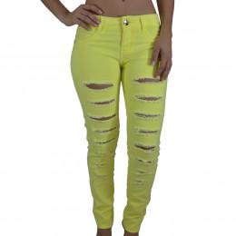 86f40fa46 Calça Slim Jeans Alma de Praia Destroyed Amarela