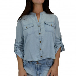 Camisa Cantão Jeans Cropped